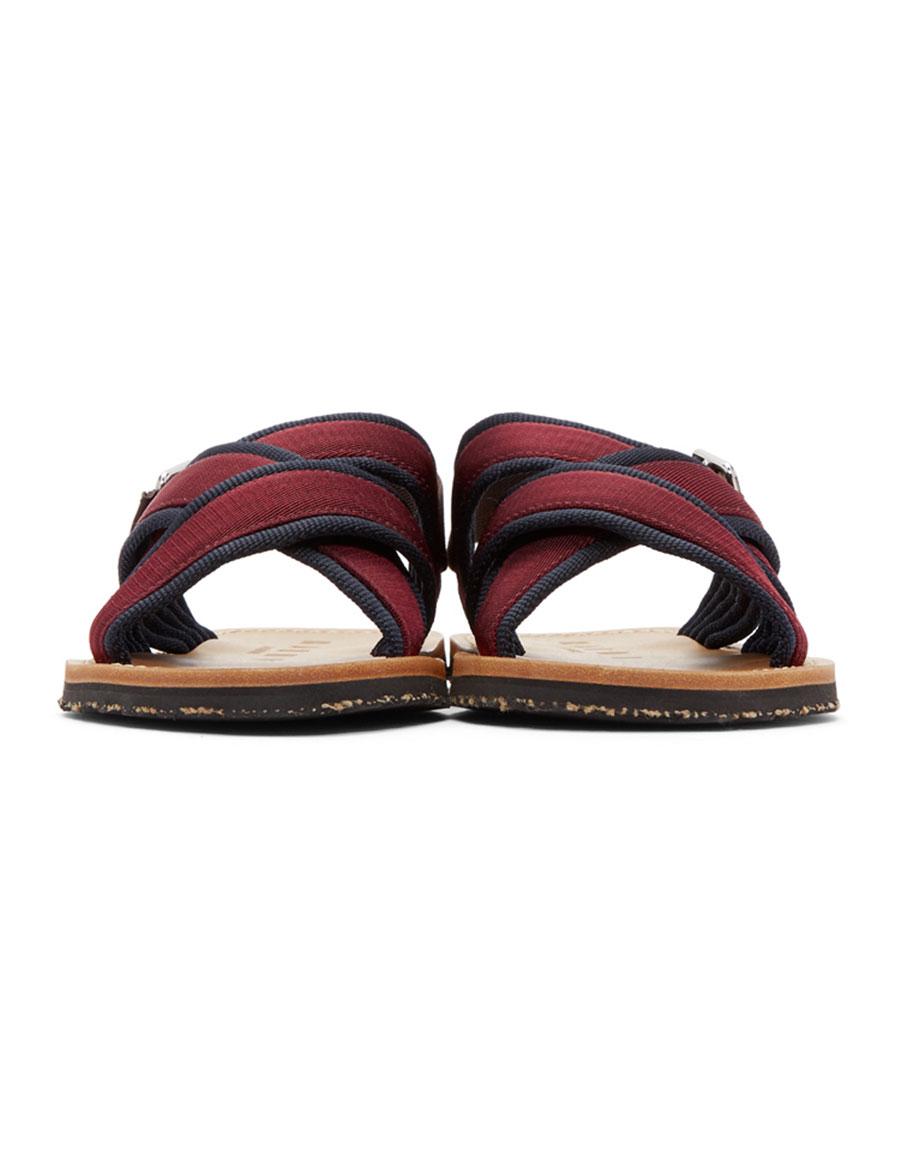 MARNI Navy & Burgundy Nastro Sandals