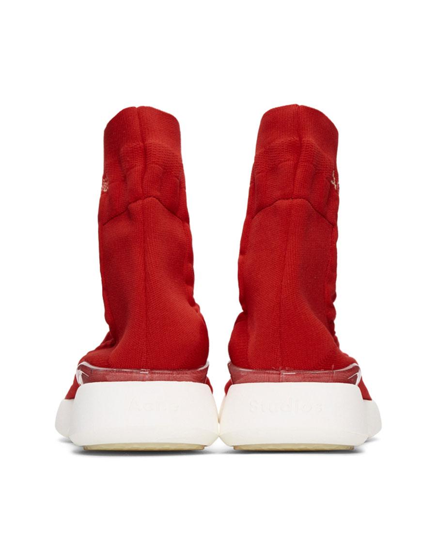 ACNE STUDIOS Orange & White Tristan High Top Sneakers