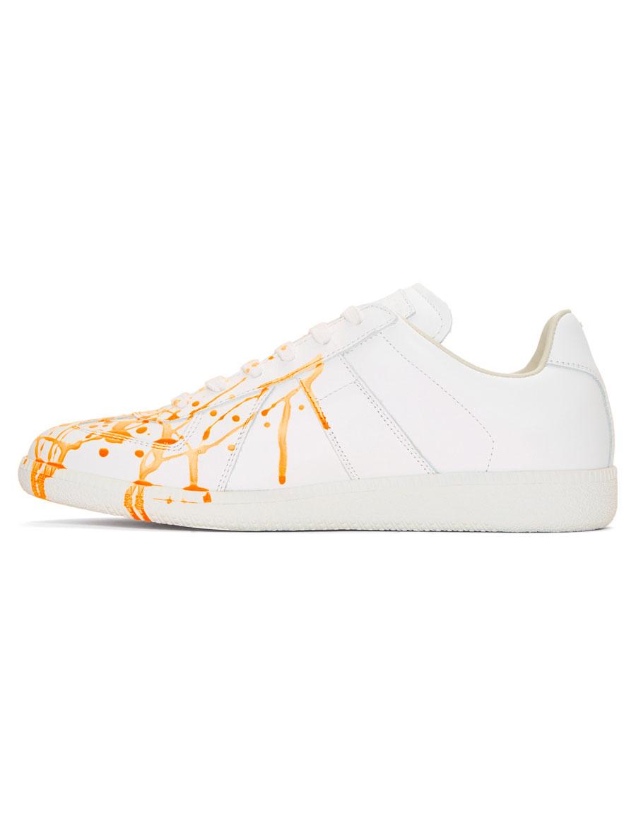 MAISON MARGIELA White & Orange Paint Splatter Replica Sneakers