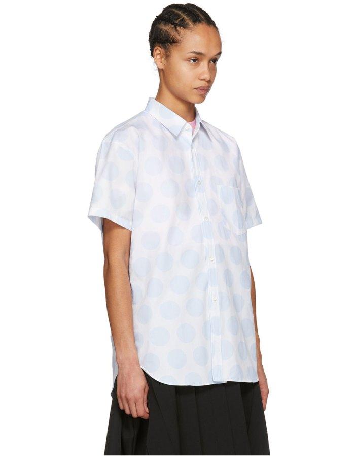 COMME DES GARÇONS White & Blue Dots Shirt