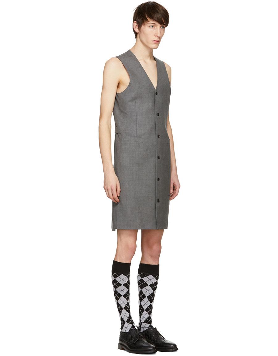 THOM BROWNE Grey Wool Twill Dress Vest