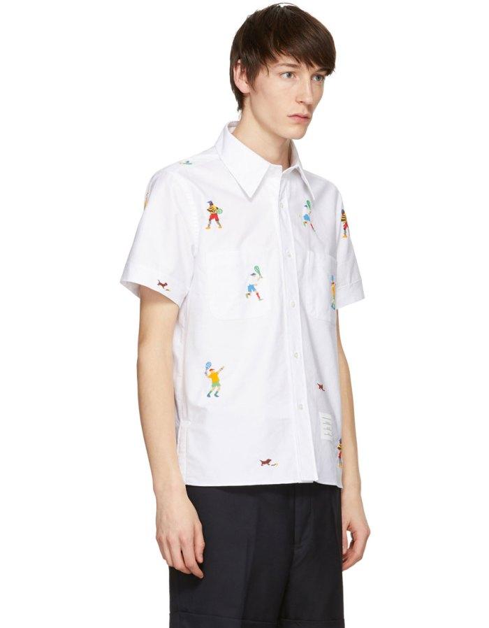 THOM BROWNE White Beaded Tennis Player Cuban Shirt