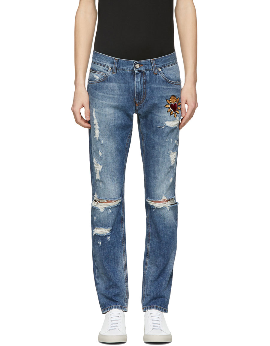 DOLCE & GABBANA Blue Distressed Patch Jeans
