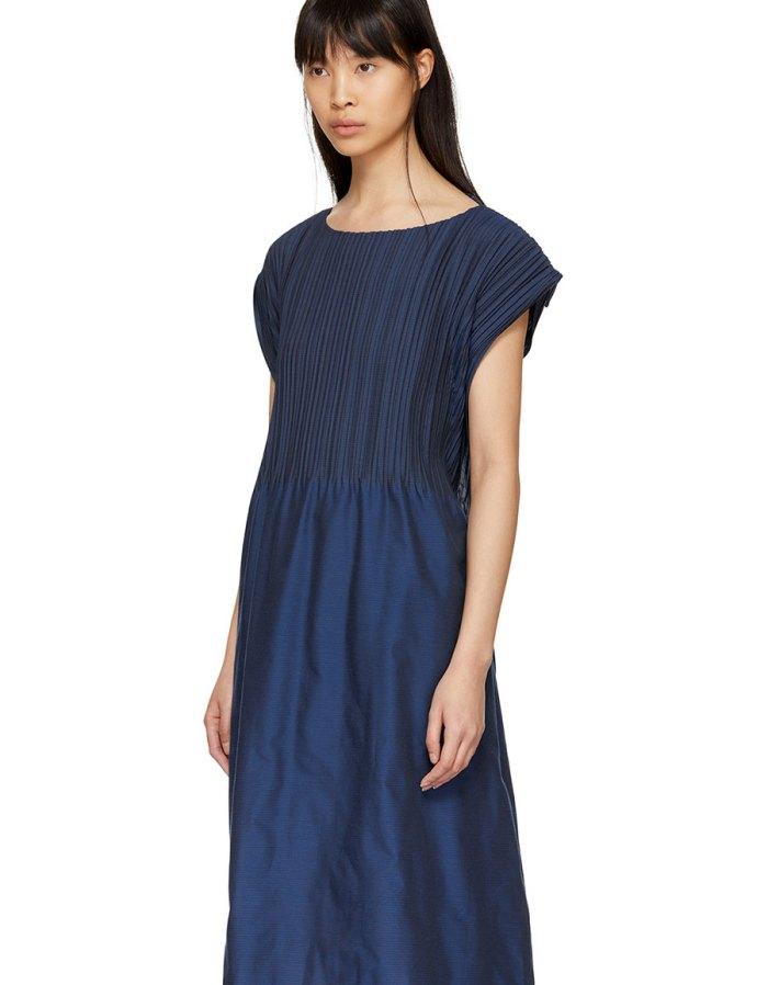 ISSEY MIYAKE Blue Frame Pleats Dress