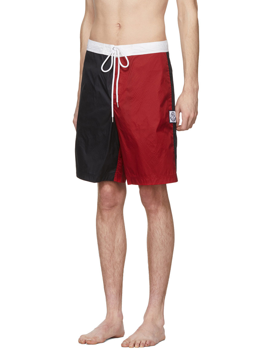 MONCLER Navy & Red Tricolor Swim Shorts