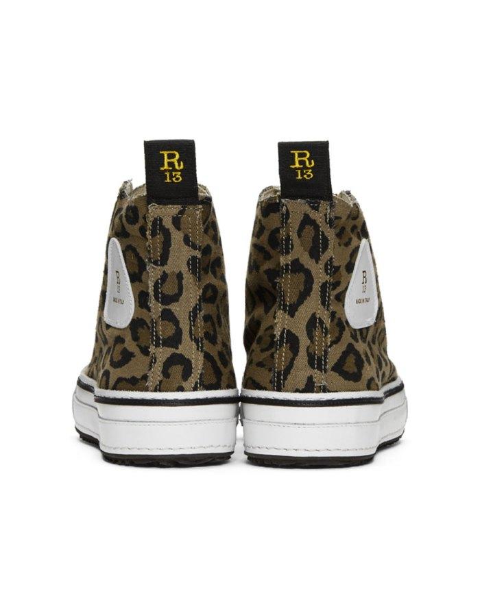 R13 Brown & Black Leopard High Top Sneakers