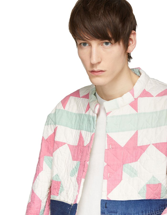 B SIDES Off White & Indigo Bode Edition Quilt Apron Denim Jacket
