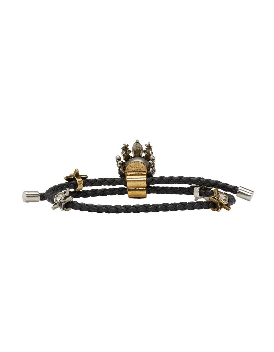 ALEXANDER MCQUEEN Black King Skull Friendship Bracelet