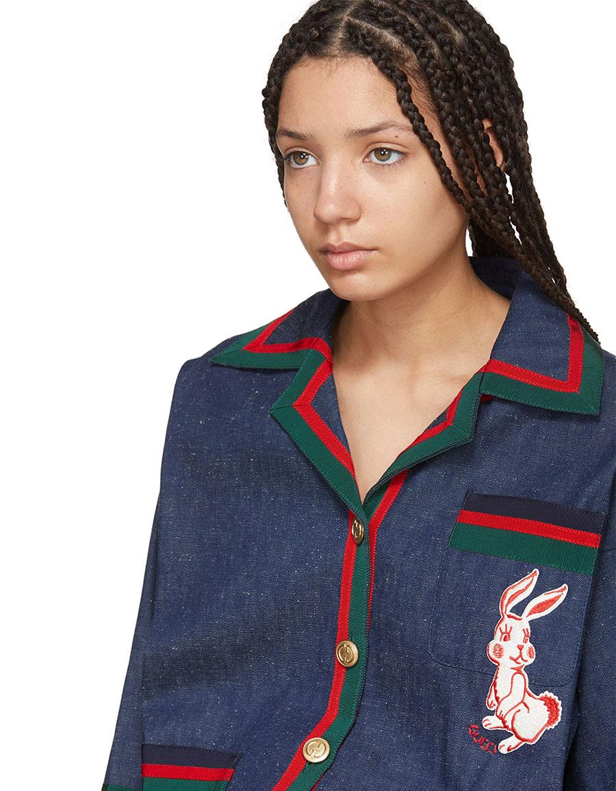 GUCCI Indigo Denim Striped Piping Jacket