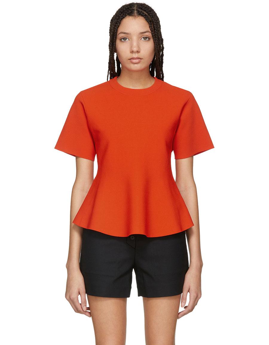 PROENZA SCHOULER Orange Flare Knit Top