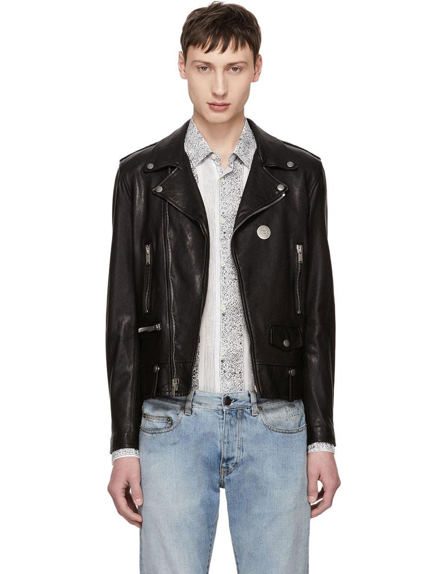 SAINT LAURENT Black Classic Pin Moto Jacket