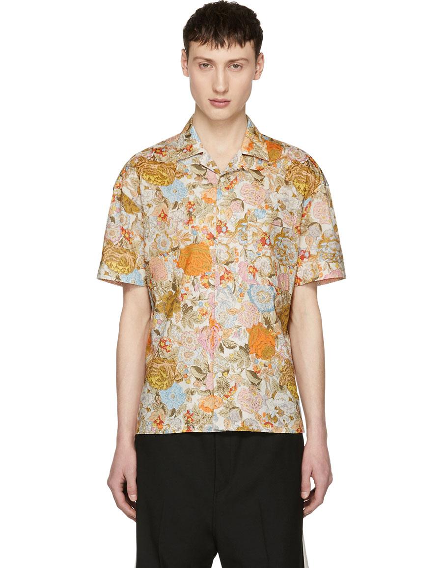BURBERRY Orange Botanical Floral Harley Shirt