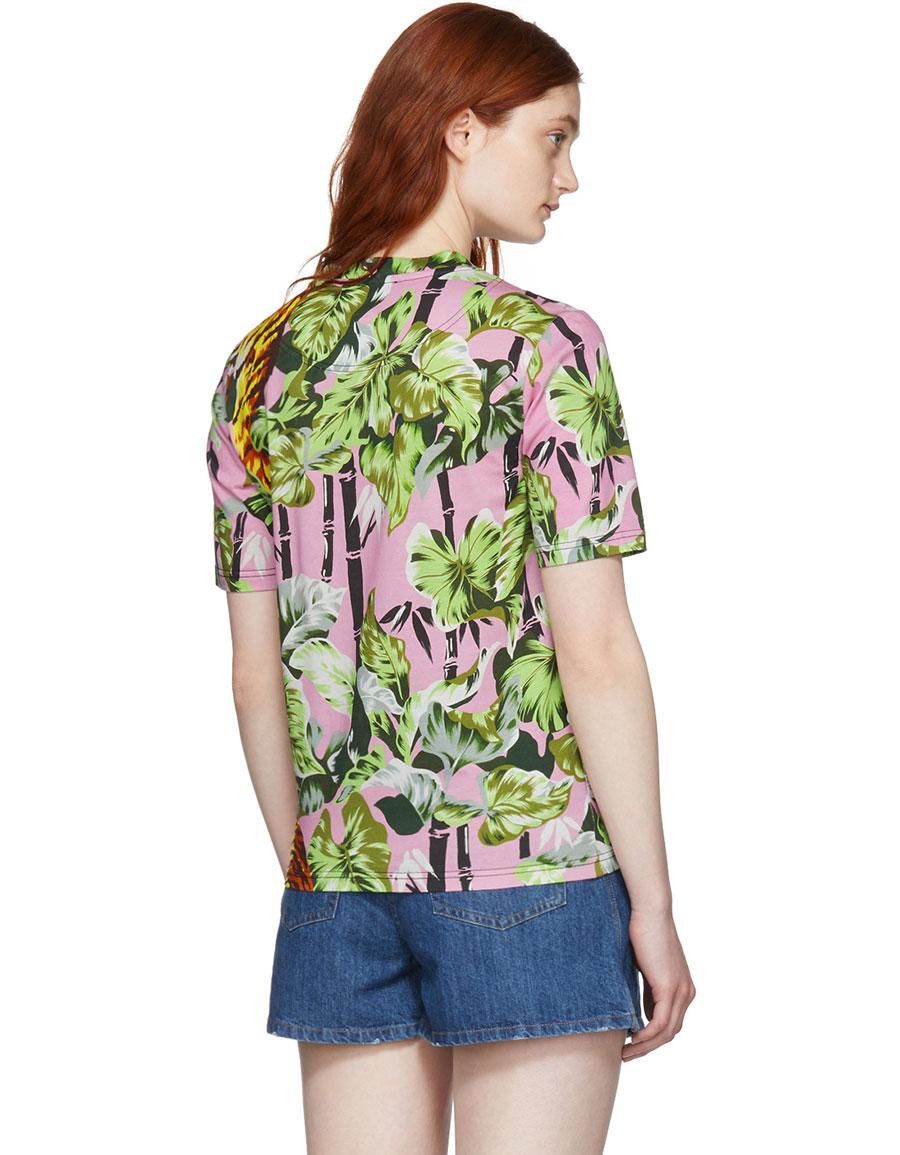 KENZO Pink Straight Graphic T Shirt