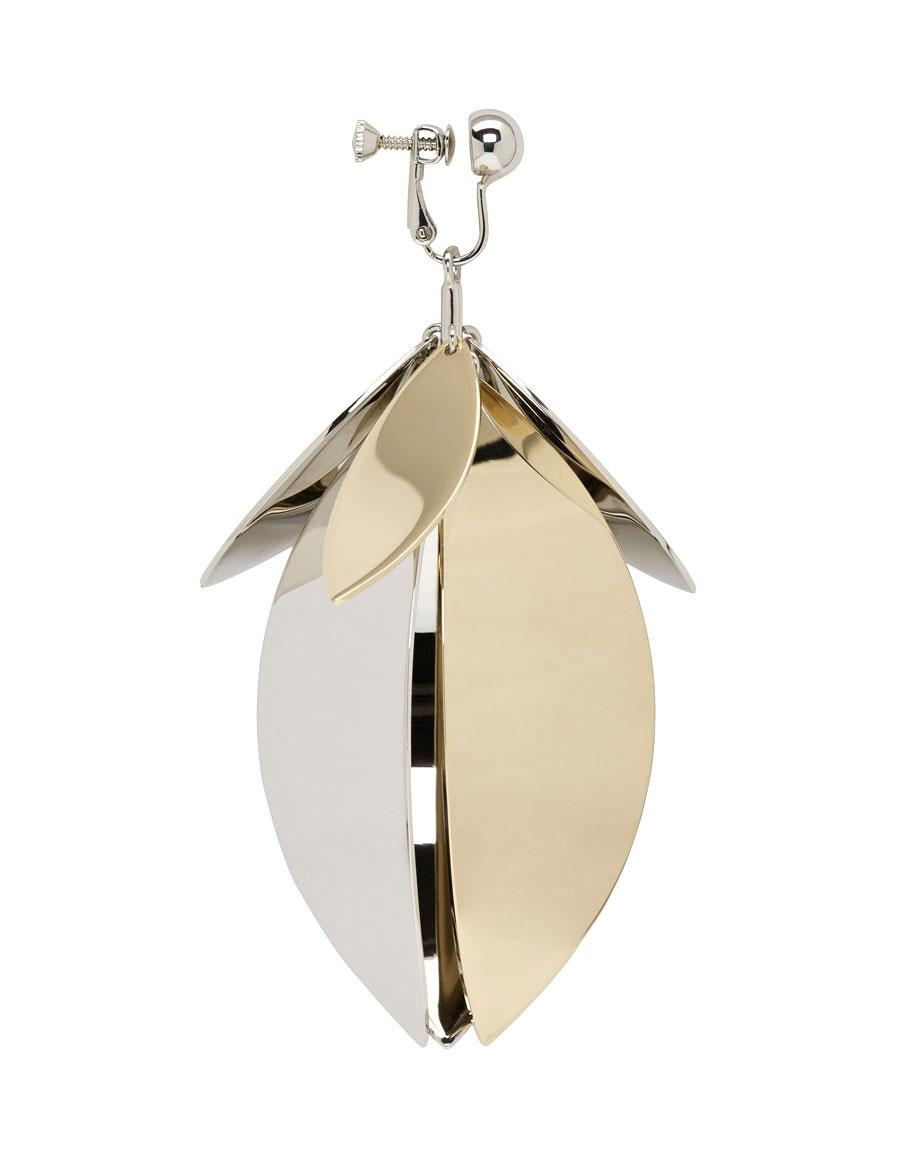 PROENZA SCHOULER Silver & Gold Full Leaf Earring