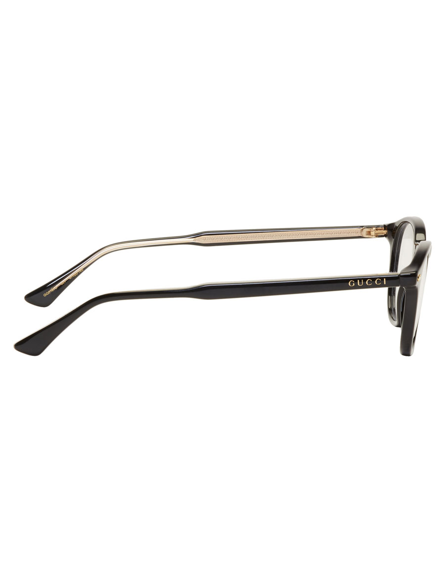 GUCCI Black Round Shiny Glasses