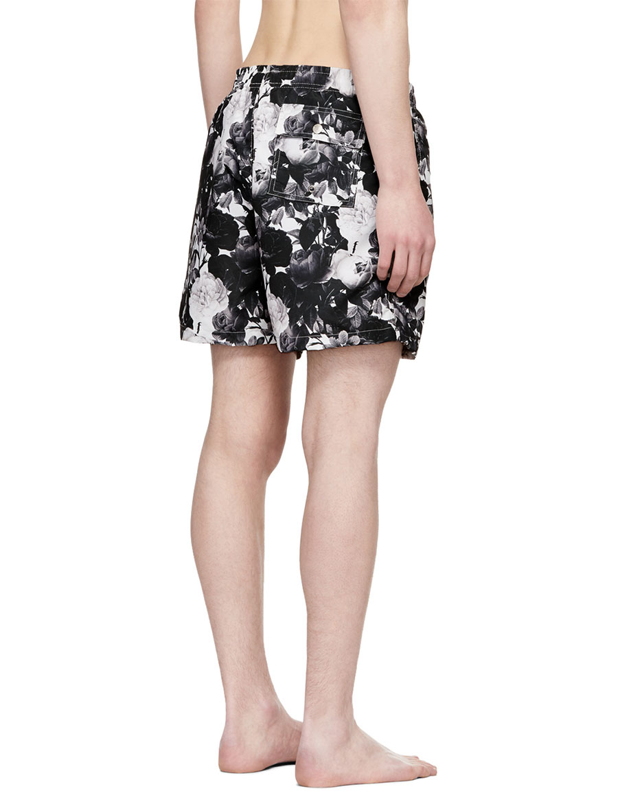 BATHER Black & White Roses Swim Shorts