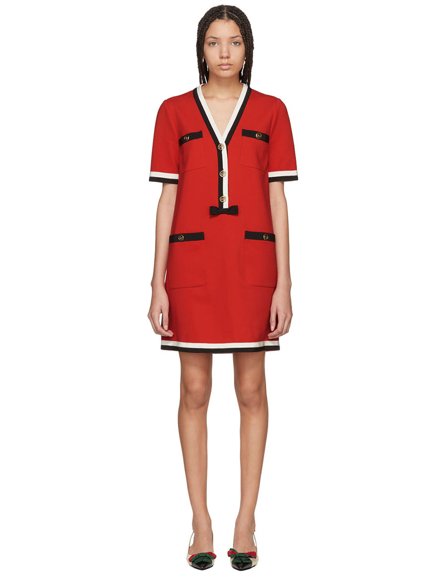 GUCCI Red Striped Piping Dress