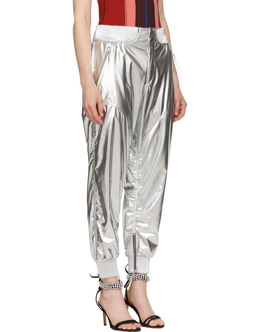ISABEL MARANT Silver Metallic Aruso Trousers