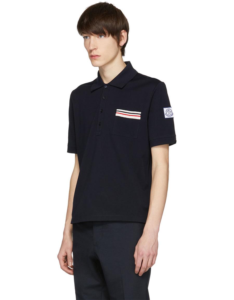 MONCLER Navy Flag Pocket Polo