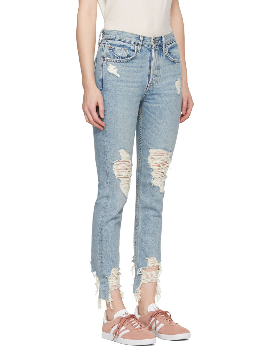 GRLFRND Blue Karolina Deconstructed Jeans