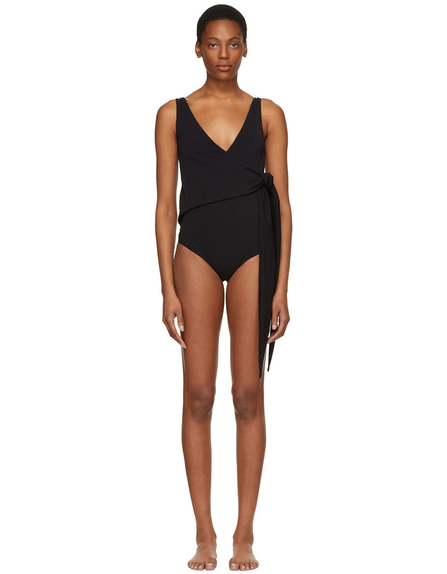 LISA MARIE FERNANDEZ Black Dree Louise Crepe Swimsuit