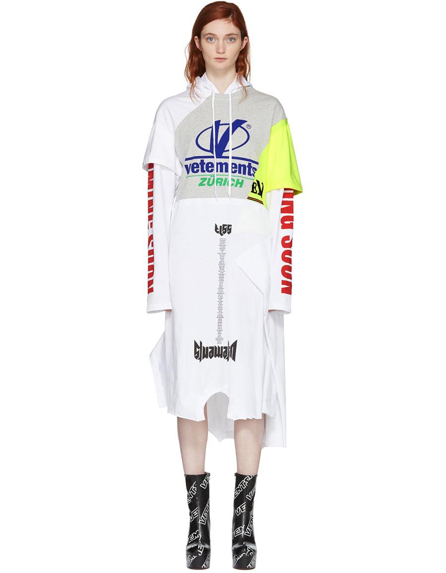 VETEMENTS Grey & White Panelled Printed Hoodie Dress