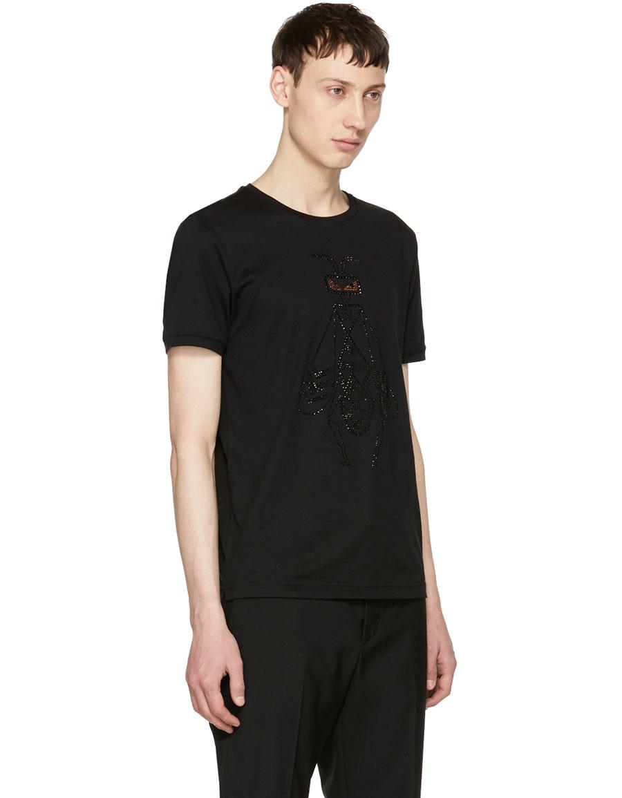 FENDI Black Crystal Embellished 'Super Bugs' T Shirt