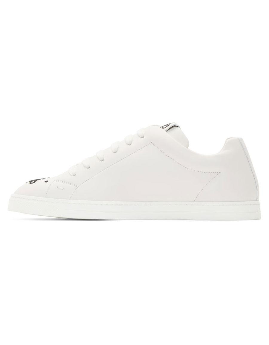 FENDI White Leather 'Super Bugs' Sneakers