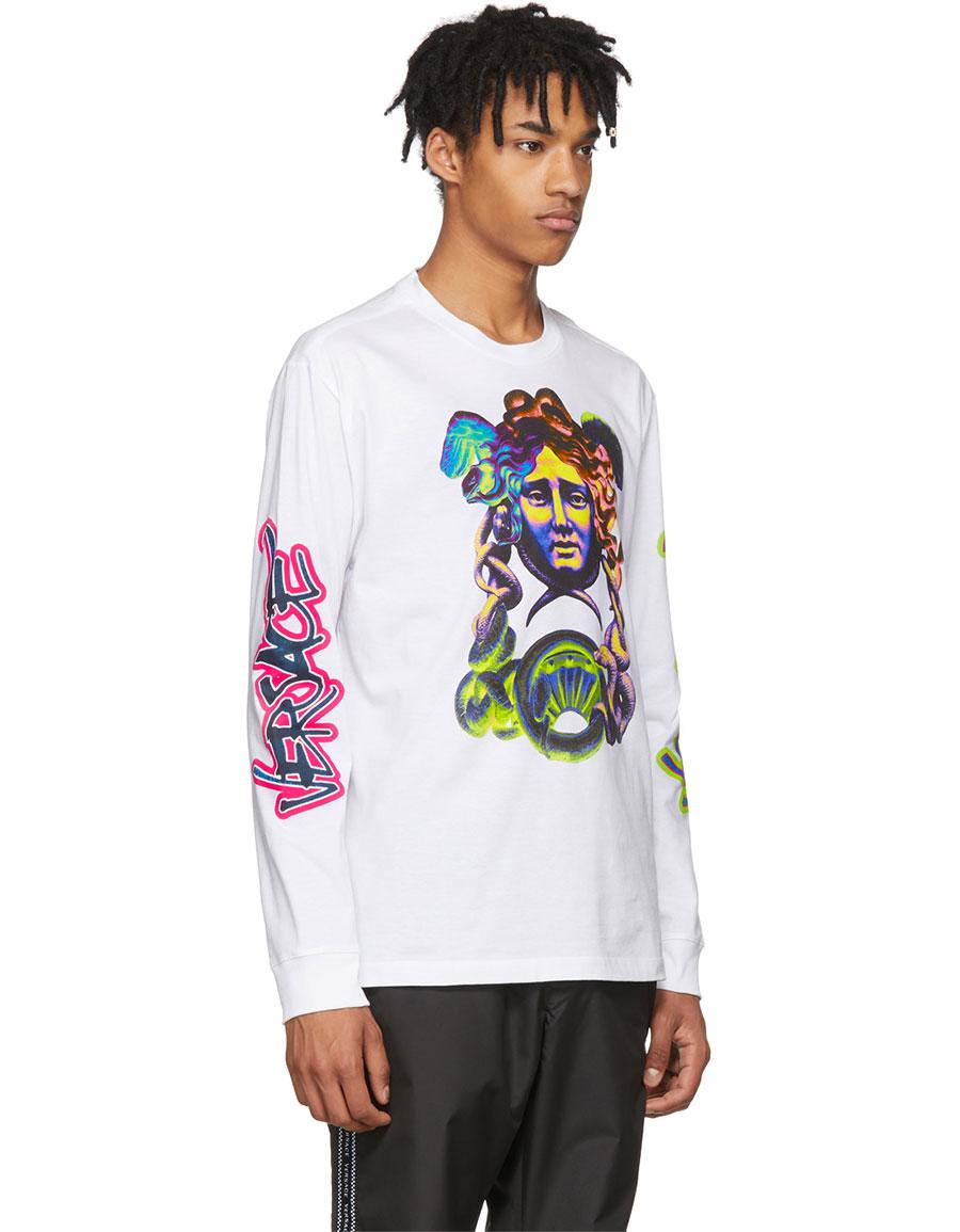 VERSACE White Long Sleeve Graffiti T Shirt