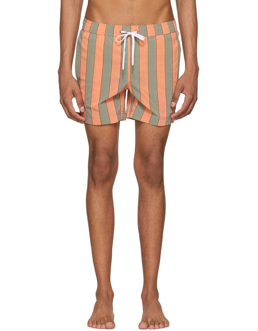 4bee2aa7aedef ONIA Orange & Green Striped Charles Swim Shorts · VERGLE