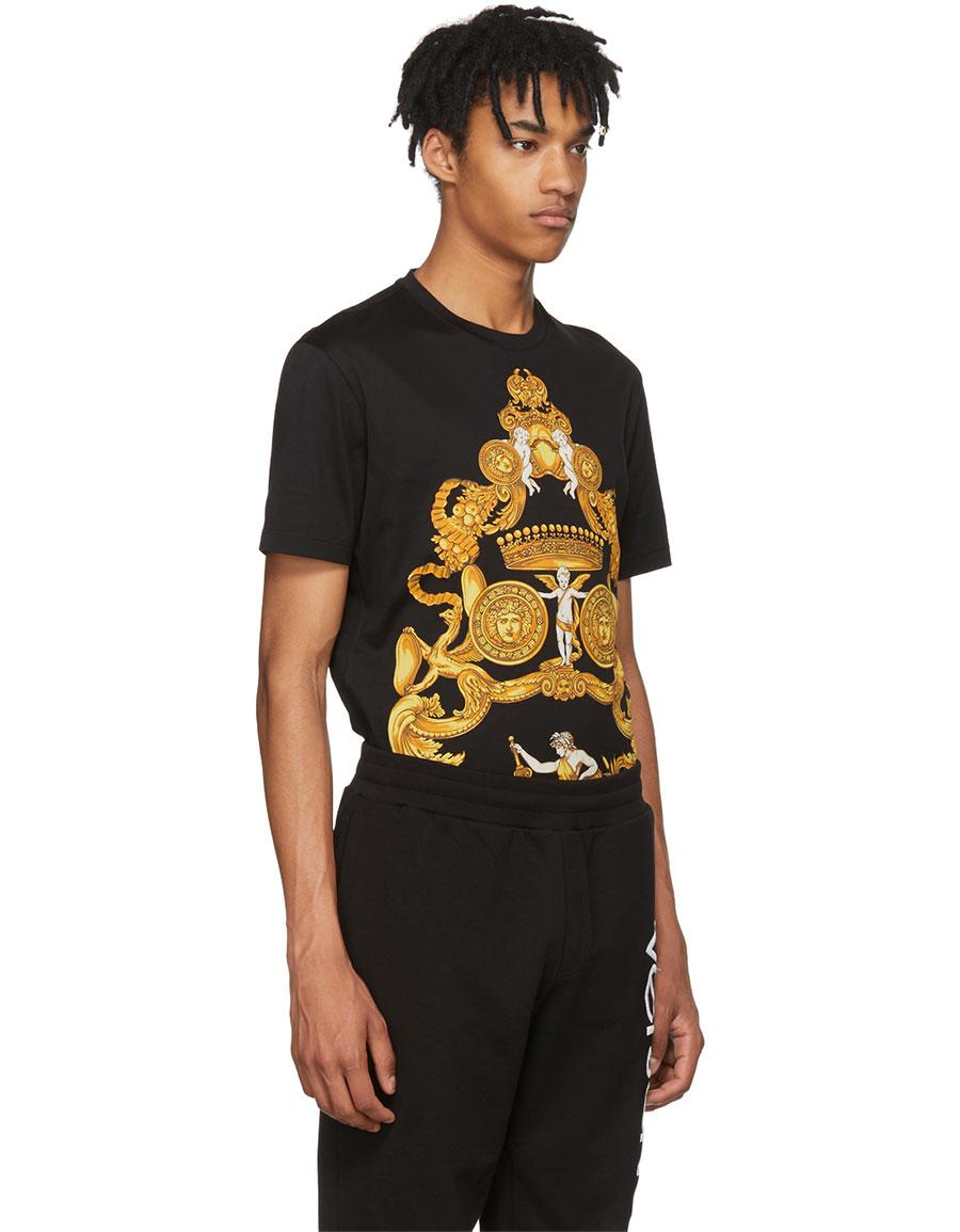 VERSACE Black & Gold Angels T Shirt