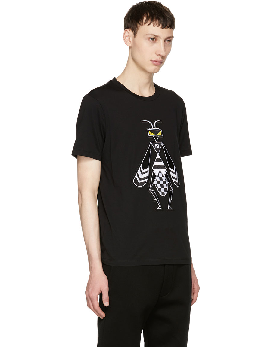 FENDI Black Embroidered 'Super Bugs' T Shirt