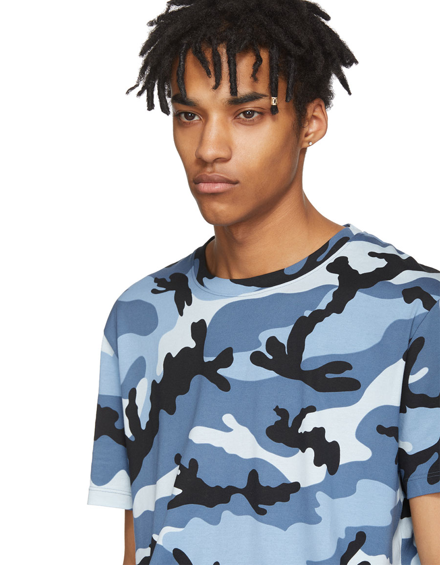 VALENTINO Blue New Camo T Shirt