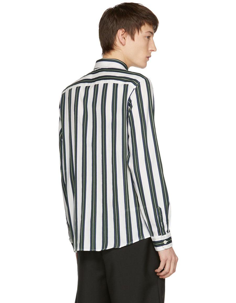 A.P.C. Green & Off White Striped Alexis Shirt
