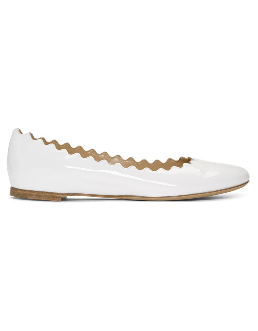 CHLOÉ White Patent Lauren Ballerina Flats