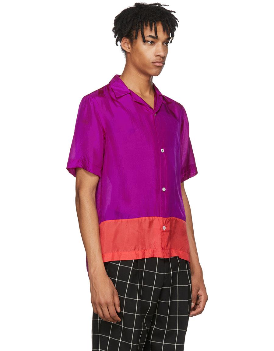 PAUL SMITH Purple & Red Silk Shirt