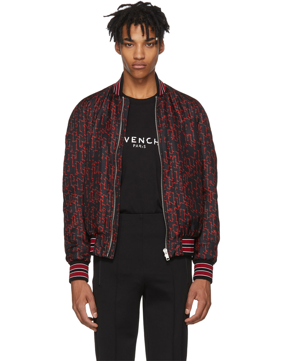 GIVENCHY Black & Red All Over Logo Signature Bomber Jacket