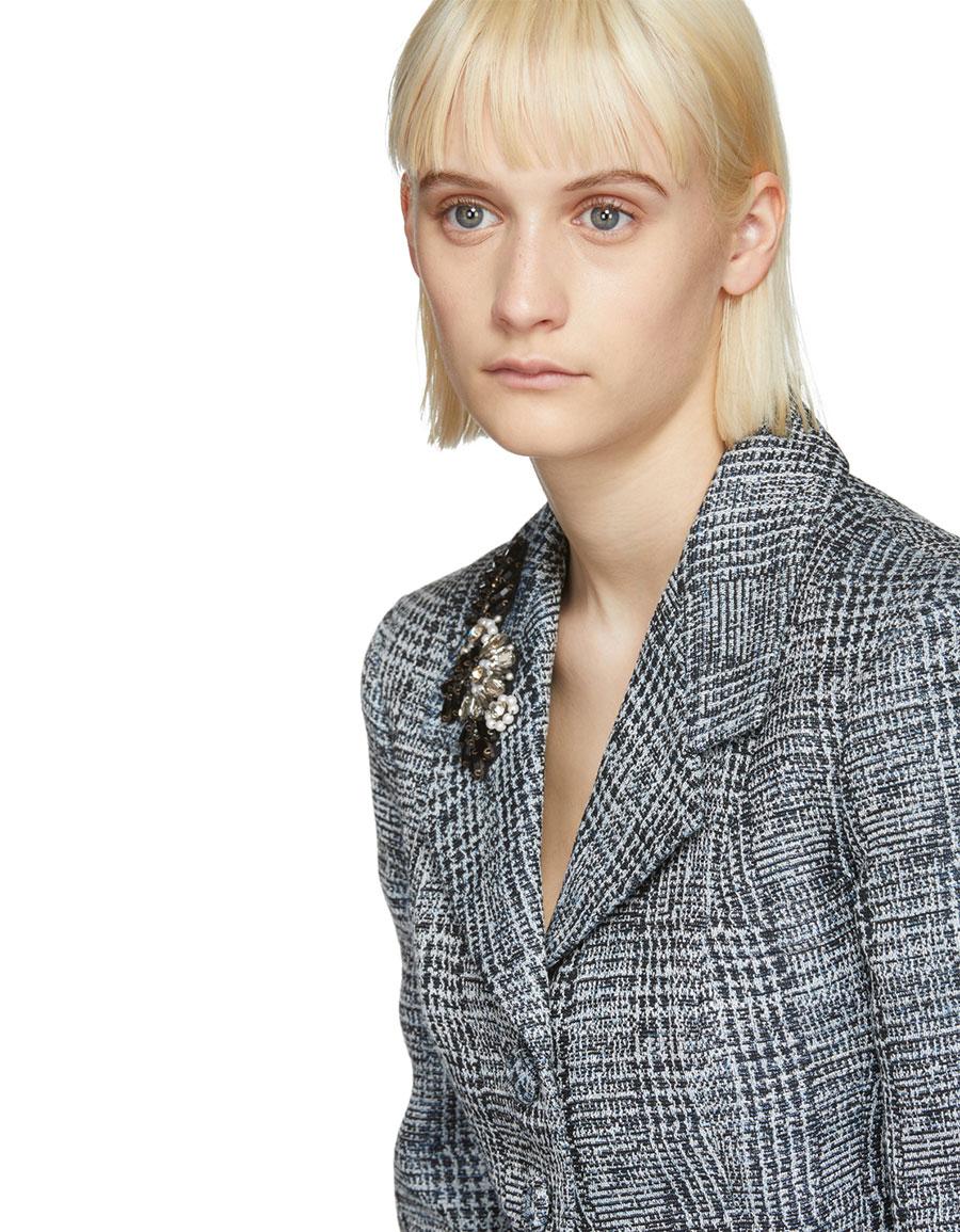 ERDEM Blue & White Jacey Single Breasted Blazer