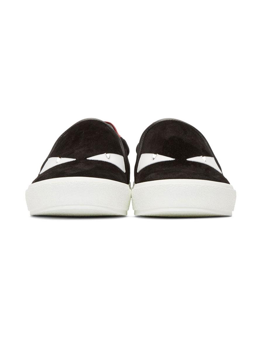 FENDI Black 'Bag Bugs' Slip On Sneakers