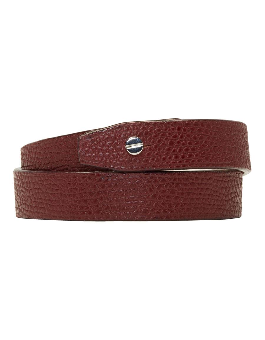 VALEXTRA Burgundy Leather Double Bracelet