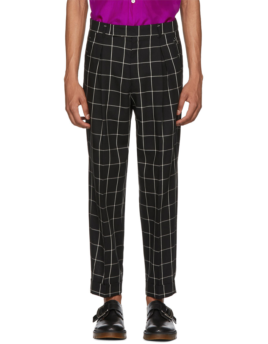 PAUL SMITH Black & White Check Pleated Trousers