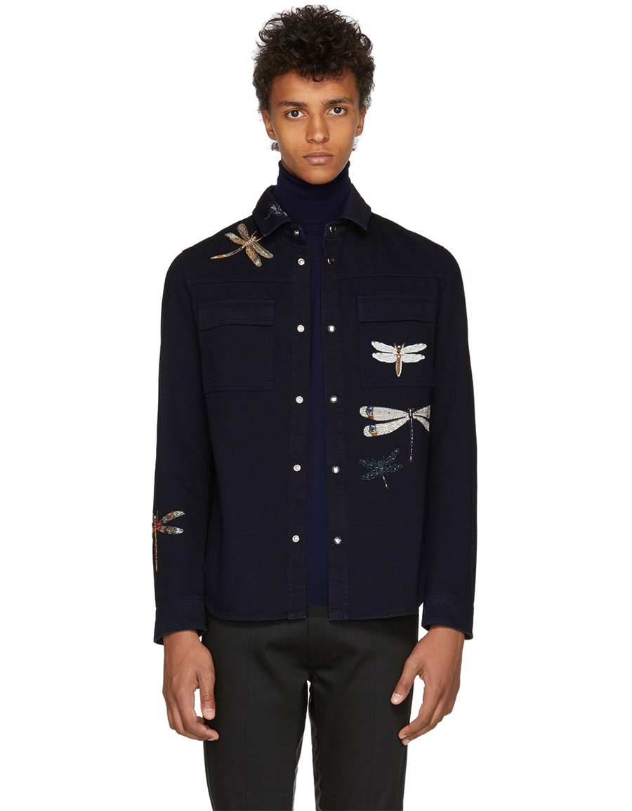 VALENTINO Blue Dragon Fly Shirt Jacket