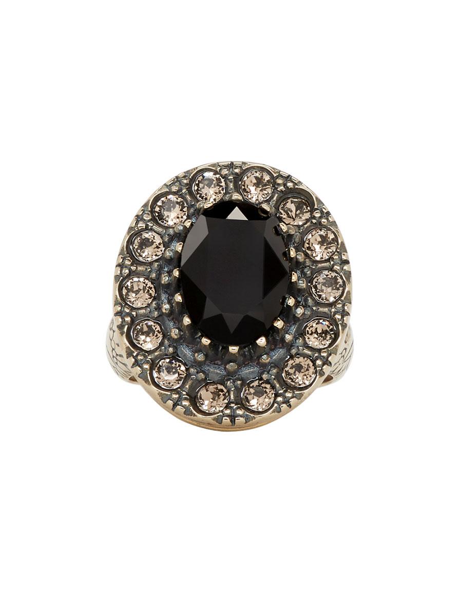 ALEXANDER MCQUEEN Gold & Black Jewelled Ring