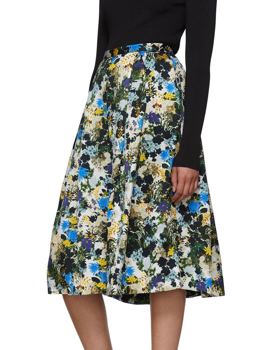 ERDEM Multicolor Floral Ina Skirt
