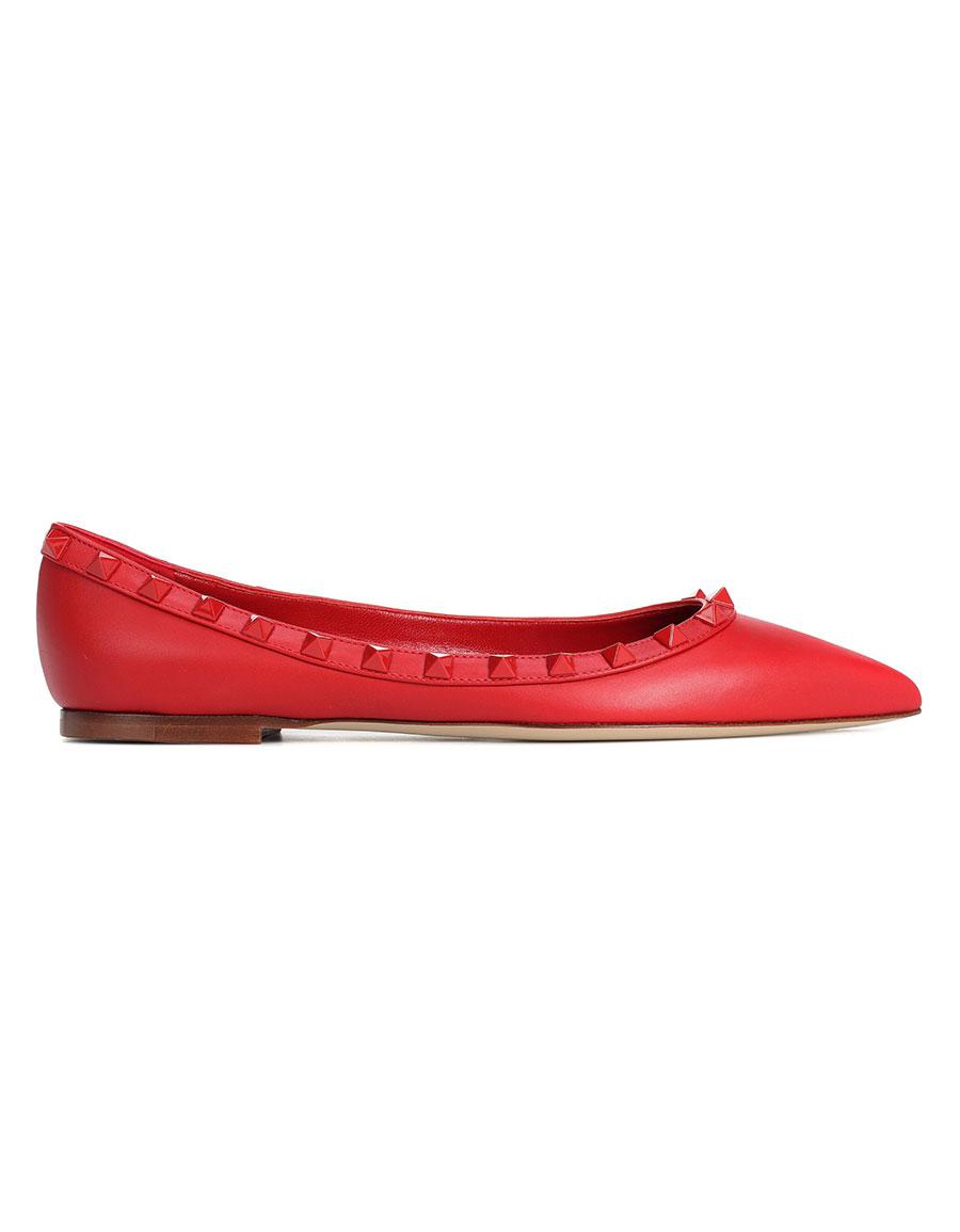 VALENTINO Valentino Garavani Rockstud leather ballerinas