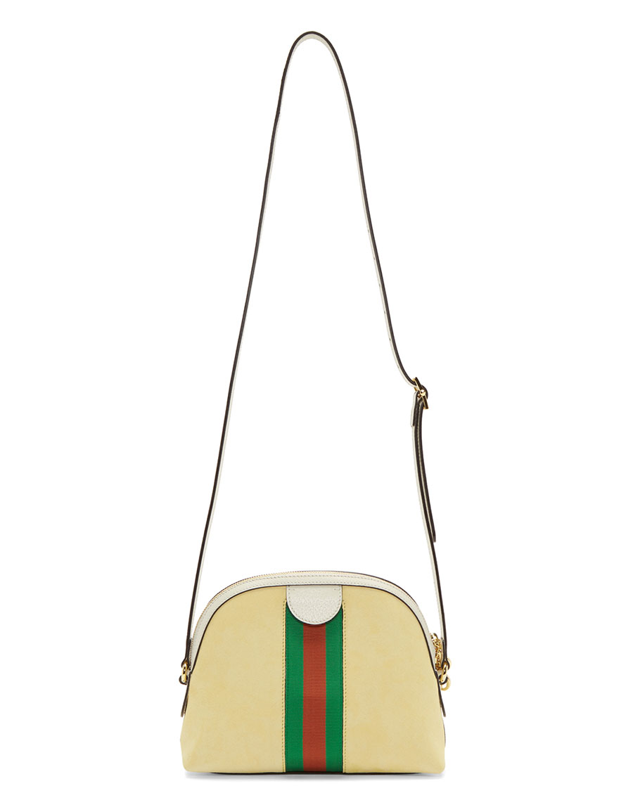 GUCCI Yellow Small Suede Ophidia Shoulder Bag