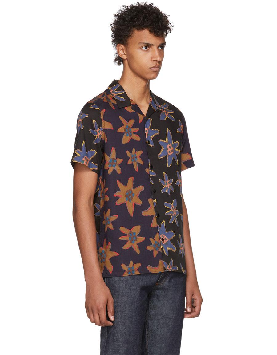 PAUL SMITH Black Mixed Flower Print Casual Shirt