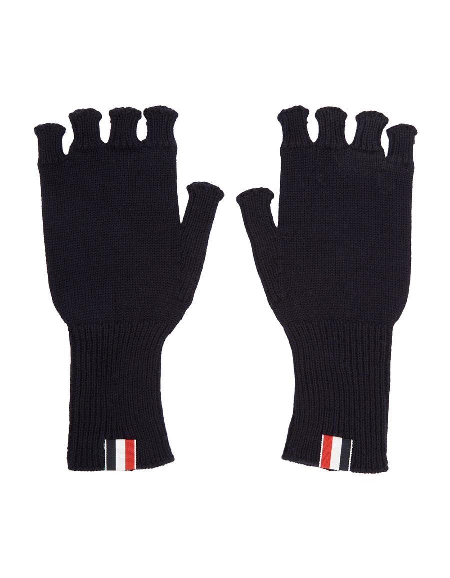 THOM BROWNE Navy Wool Fingerless Gloves