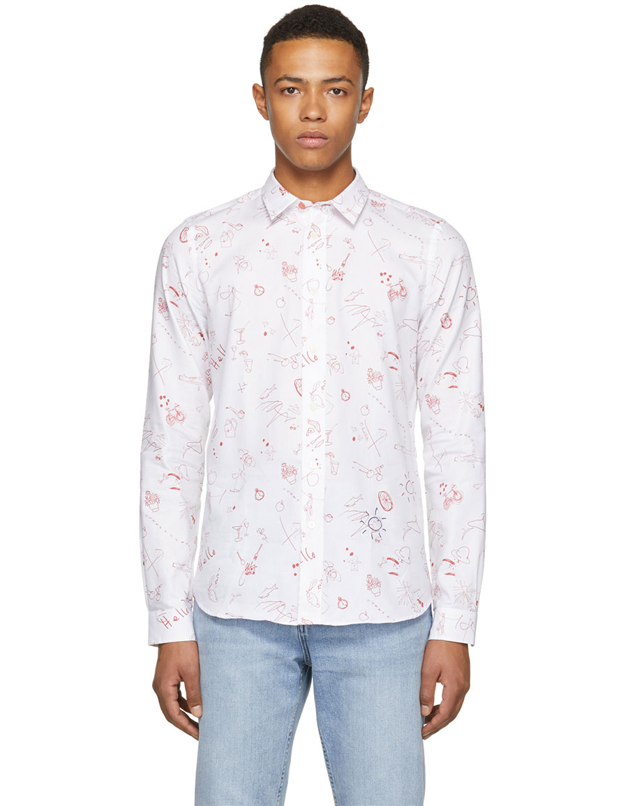 PAUL SMITH White & Red Sketches Tailored Shirt