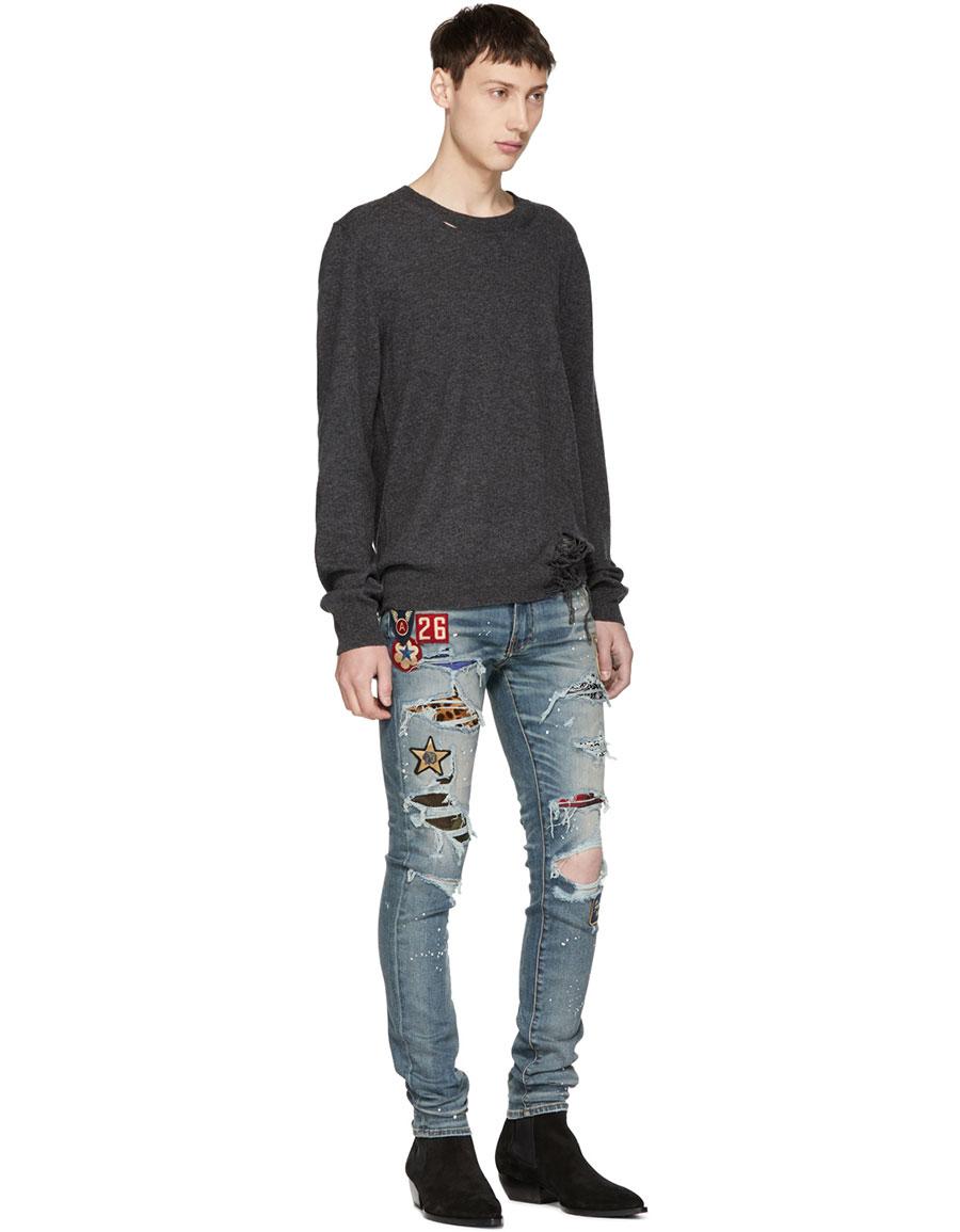 AMIRI Indigo Art Patch Painted Jeans